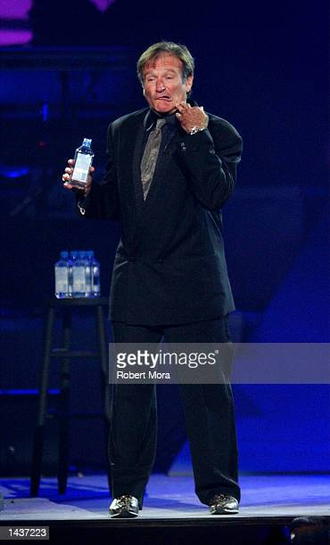 Actor Robin Williams performs at the 7th Annual Andre Agassi Charitable Foundation's Grand Slam for Children benefit concert on September 28, 2002 at...