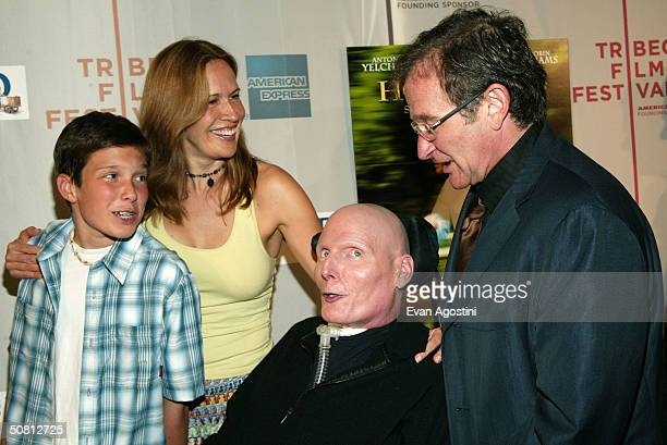 """Actor Robin Williams poses with actor Christopher Reeve, wife Dana Reeve and son Will at the screening of """"House Of D"""" during the 2004 Tribeca Film..."""