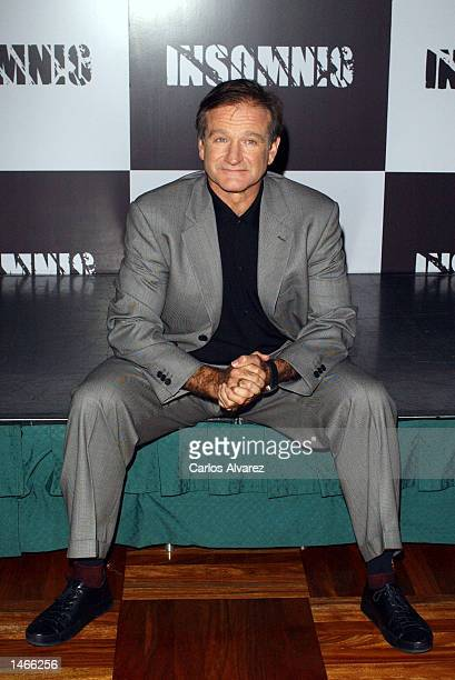 "Actor Robin Williams promotes his new movie ""Insomnia"" October 9, 2002 at Hotel Palace in Madrid, Spain."