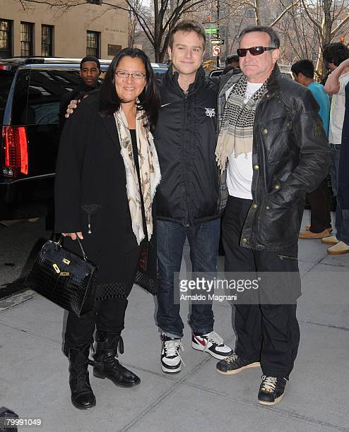 Actor Robin Williams right with his wife Marsha and son Zach outside their hotel February 25 2008 in New York City