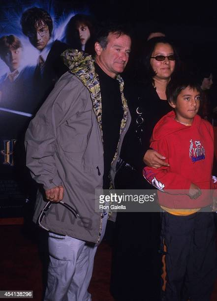 Actor Robin Williams wife Marsha and son Cody attend the 'Harry Potter and the Chamber of Secrets' New York City Premiere on November 10 2002 at the...
