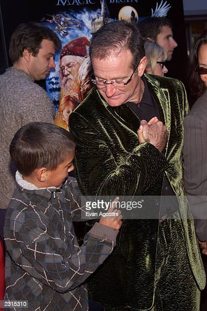Actor Robin Williams with son Cody at the NY Premiere of 'Harry Potter and the Sorcerer's Stone' at the Ziegfeld Theatre in New York City Photo Evan...