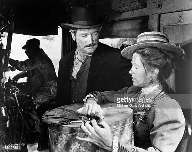 Actor Rock Hudson and actress Susan Clark on set of the movie Showdown circa 1973