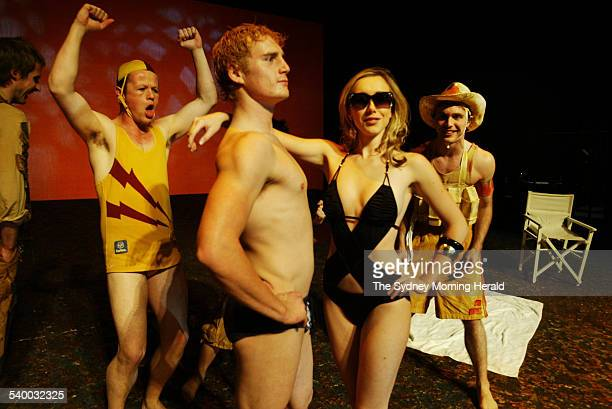 Actor Rod Byrnes poses in an old swimsuit during rehearsals for a new play performed by NIDA called 'Beach' at the Parade Theatre 7 June 2006 SMH...
