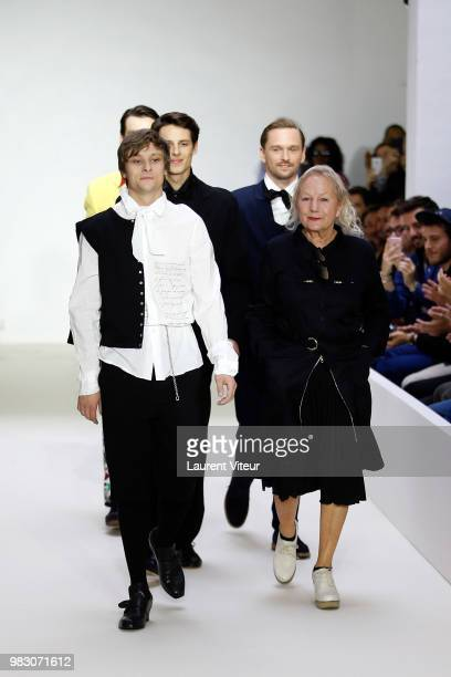 Actor Rod Paradot and Designer Agnes B. Walk the runway during the Agnes B. Menswear Spring/Summer 2019 show as part of Paris Fashion Week on June...