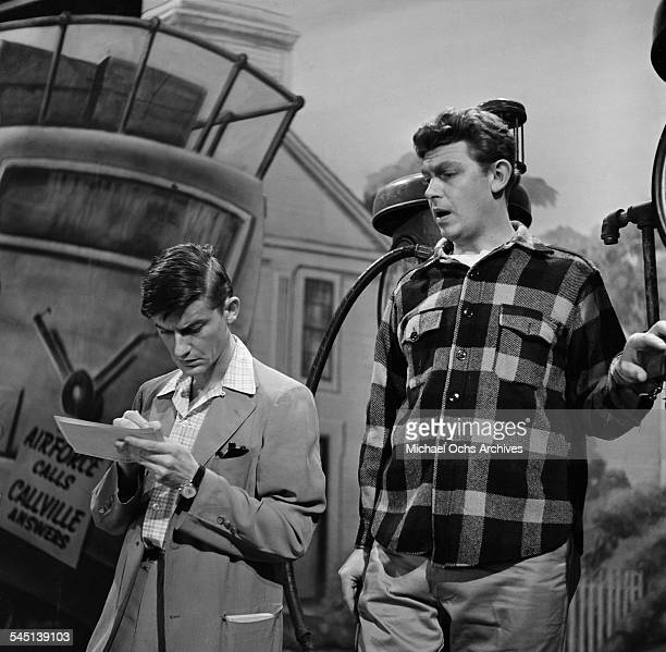 Actor Roddy McDowall and Andy Griffith performs a scene for 'No Time For Sgts ' on the 'Toast of the Town' show hosted by Ed Sullivan at the Maxine...