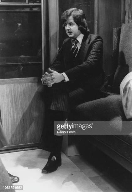 Actor Rodney Bewes sitting in a train carriage in a scene from the television show 'Whatever Happened to the Likely Lads' September 17th 1972