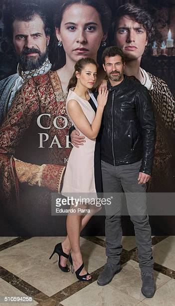 Actor Rodolfo Sancho and actress Irene Escolar attend 'La Corona Partida' photocall at Verdi cinema on February 16 2016 in Madrid Spain