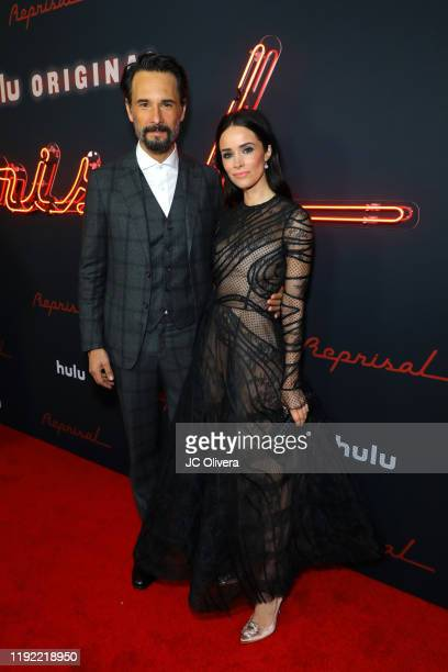 """Actor Rodrigo Santoro and actress Abigail Spencer attend the premiere of Hulu's """"Reprisal"""" Season One at ArcLight Cinemas on December 05, 2019 in..."""