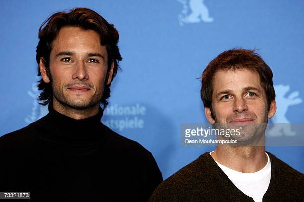 Actor Rodrigo Santoro and director Zack Snyder attend a photocall to promote the movie '300' during the 57th Berlin International Film Festival on...