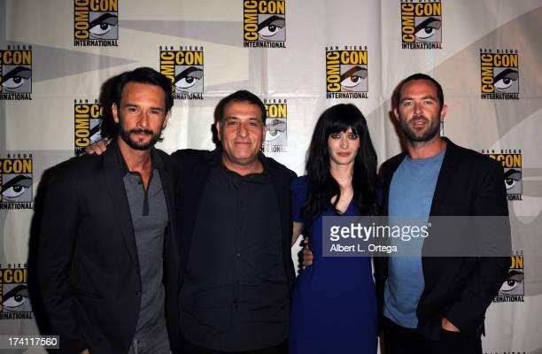 Actor Rodrigo Santoro director Noam Murro actress Eva Green and actor Sullivan Stapleton speak onstage at the Warner Bros and Legendary Pictures...
