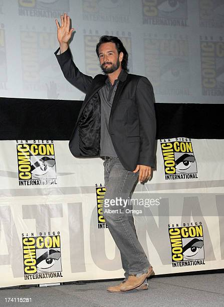 Actor Rodrigo Santoro speaks onstage at the Warner Bros and Legendary Pictures preview of 300 Rise Of An Empire during ComicCon International 2013 at...
