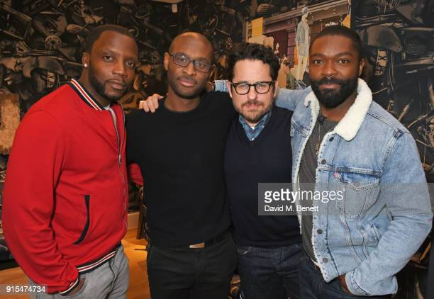Actor Roger Davies director Julius Onah producer JJ Abrams and actor David Oyelowo attend a fan screening of The Cloverfield Paradox hosted by...