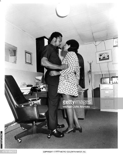 Actor Roger E Mosley and actress Patricia Edwards in a scene from the MGM movie Sweet Jesus Preacherman circa 1973