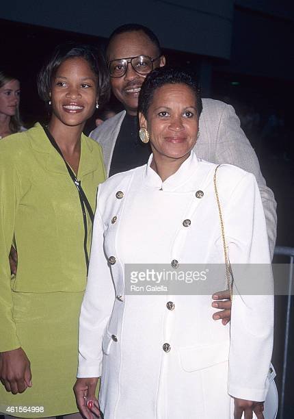 Actor Roger E Mosley longtime girlfriend Toni Laudermick and daughter attend the Hoodlum Los Angeles Premiere on August 25 1997 at the Magic Johnson...
