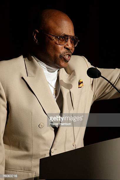 Actor Roger E Mosley speaks at the Academy of Television Arts and Sciences and the Stunts Peer Group Emmy Nominee Party For Stunt Coordination held...