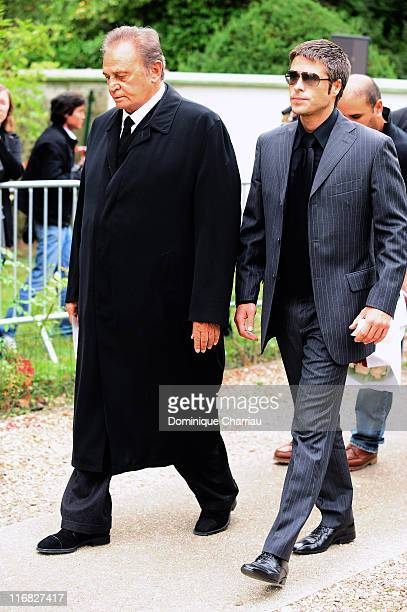 Actor Roger Hanin and Anthony Dupray attend Filip Nikolic's funeral on September 24 2009 in SainteGenevieve France