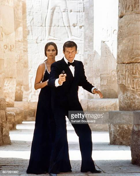 Actor Roger Moore and actress Barbara Bach on the set of The Spy Who Love Me