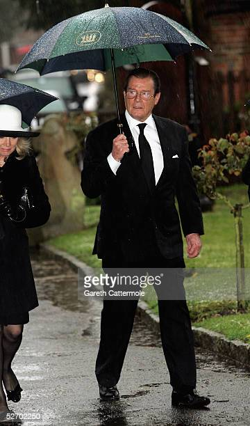 Actor Roger Moore attends the funeral service held for Sir John Mills on April 27 2005 in Denham Buckinghamshire