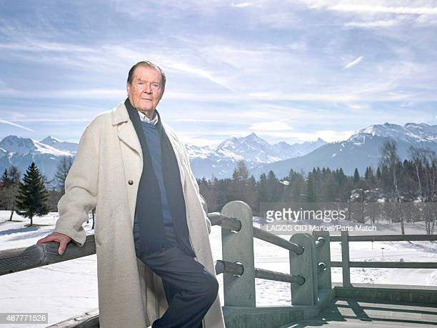 Actor Roger Moore is photographed for Paris Match on March 9 2015 in CransMontana Switzerland