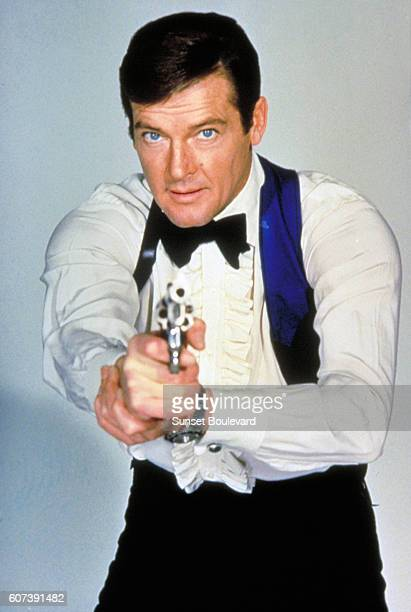 """Actor Roger Moore on the set of """"Live And Let Die""""."""