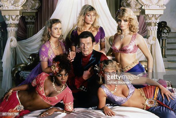 Actor Roger Moore on the set of Octopussy