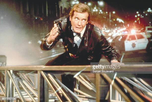 """Actor Roger Moore on the set of """"View To Kill""""."""