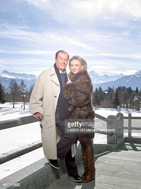Actor Roger Moore with his wife Kristina Tholstrup are photographed for Paris Match on March 9 2015 in CransMontana Switzerland