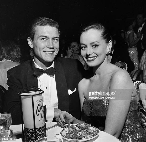 Actor Roger Smith and his wife actress Victoria Shaw attend the Foreign Press Awards at the Cocoanut Grove in Los AngelesCA