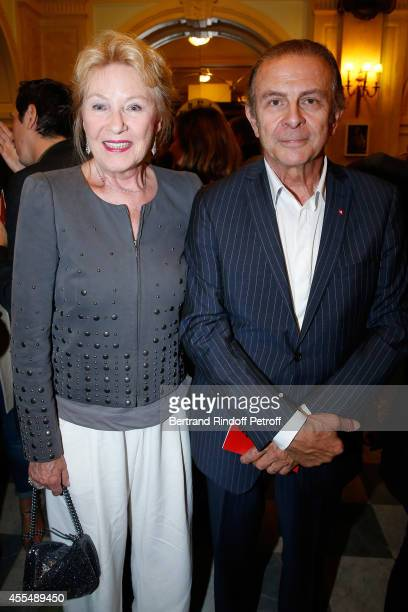 Actor Roland Giraud and his wife Maaike Jansen attend 'Un diner d'adieu' Premiere Held at Theatre Edouard VII on September 15 2014 in Paris France