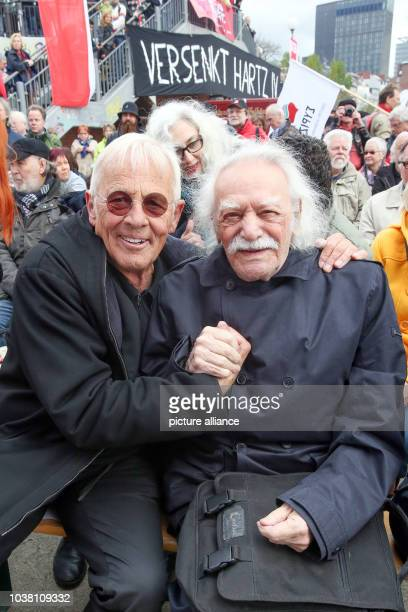 Actor Rolf Becker and former Partisan politician and writer Manolis Glezos of Greece participate in a May Day demonstration organized by the...
