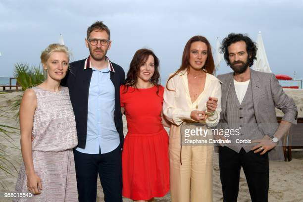 Actor Romain Duris and director Guillaume Senez pose with actresses Lucie Debay Laure Calamy and Laetitia Dosch at the photocall for Nos Batailles...