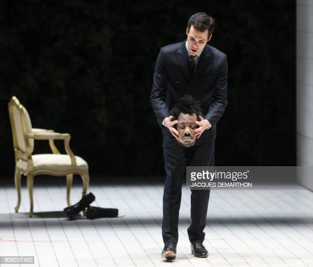 Actor Roman JeanElie as Malcolm performs on stage during a dress rehearsal of the play 'Macbeth' by English playwright William Shakespeare and...
