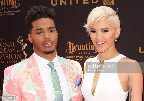 Actor Rome Flynn and Fashion Model Camia Marie attend the 2016 Daytime Emmy Awards at The Westin Bonaventure Hotel on May 1 2016 in Los Angeles...