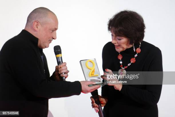 Actor Romeo Sarfati and Anny Duperey attend the tribute to Anny Duperey during the closing ceremony of Valenciennes Film Festival on March 24 2018 in...