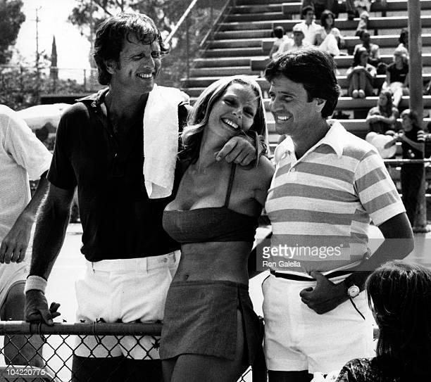 Actor Ron Ely wife Valerie Lundeen and Joe Lacovetta attend Third Annual Cathy's ProCelebrity Tennis Classic on June 25 1977 at Billy Jean King...