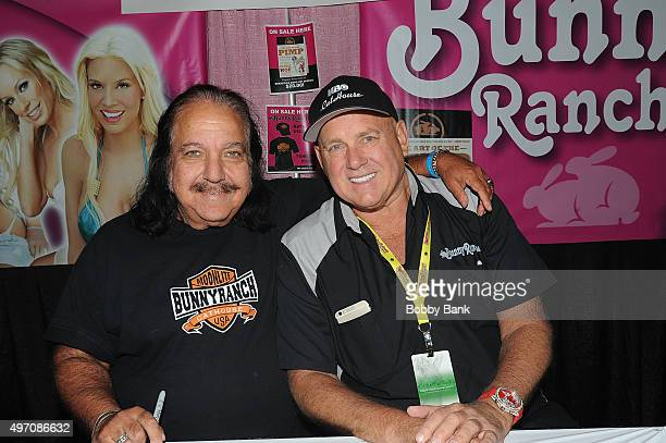 Actor Ron Jeremy and Dennis Hof owner of the Moonlite Bunny Ranch attend Exxotica Day 1 at New Jersey Convention and Exposition Center on November 13...