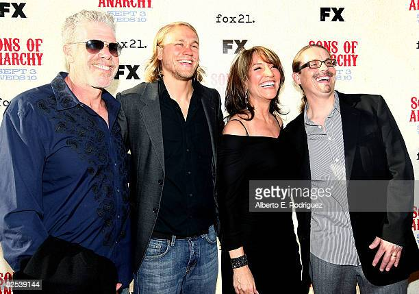 Actor Ron Perlman actor Charlie Hunnam actress Katey Sagal and writer/creator Kurt Sutter arrive at the series premiere screening of FX Network's...