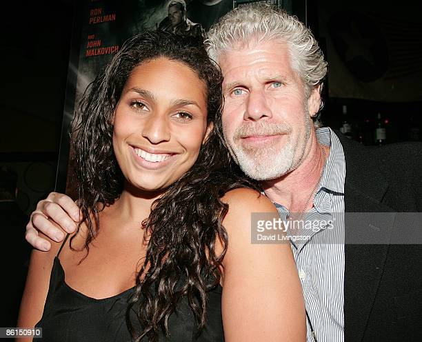 Actor Ron Perlman and daughter Blake Perlman attend the 'Mutant Chronicles' premiere after party at Napa Valley Grille on April 21 2009 in Westwood...