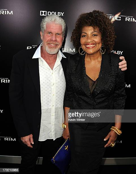 Actor Ron Perlman and Opal Perlman arrive at the premiere of Warner Bros Pictures' and Legendary Pictures' Pacific Rim at Dolby Theatre on July 9...