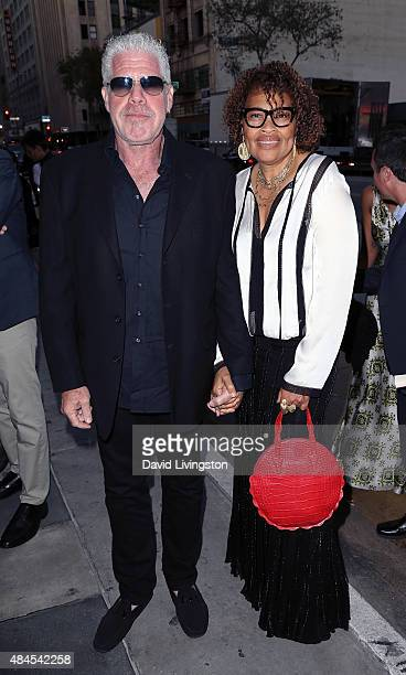 Actor Ron Perlman and wife jewelry designer Opal Stone attend the premiere of Amazon's Series Hand of God at Ace Theater Downtown LA on August 19...