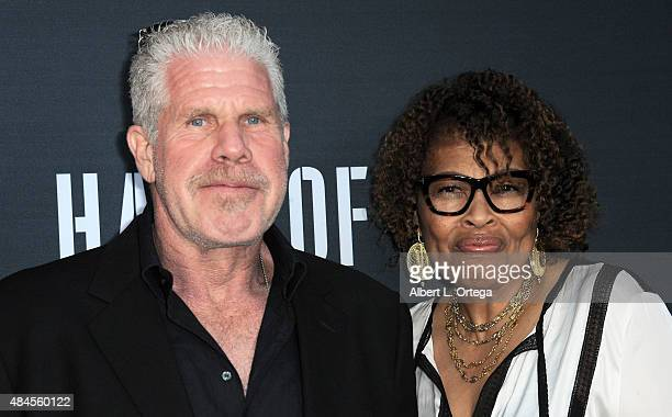 Actor Ron Perlman and wife Opal Stone arrive for the Premiere Of Amazon's Series Hand Of God held at Ace Theater Downtown LA on August 19 2015 in Los...