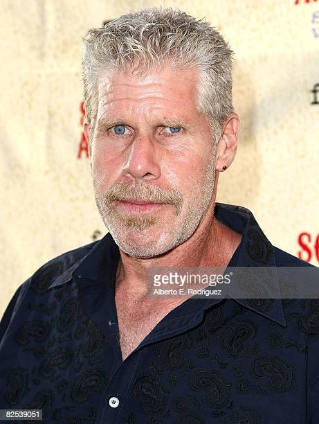 Actor Ron Perlman arrives at the series premiere screening of FX Network's Sons of Anarchy held at the Paramount Studios theater on August 24 2008 in...
