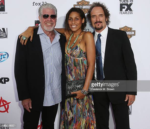 Actor Ron Perlman his daughter Blake Perlman actor Kim Coates attend the Premiere of FX's Sons of Anarchy Season 6 at the Dolby Theatre on September...