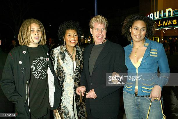 Actor Ron Perlman his son Brandon wife Opal and daughter Blake arrive at the premiere of Hellboy at the Mann Village Theater on March 30 2004 in Los...