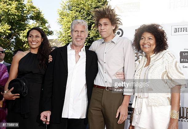 Actor Ron Perlman his wife Opal son Brandon and daughter Blake arrive at the world premiere of Universal Picture's Hellboy II The Golden Army for the...