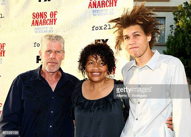 Actor Ron Perlman Opal Perlman and Brandon Perlman arrive at the series premiere screening of FX Network's Sons of Anarchy held at the Paramount...