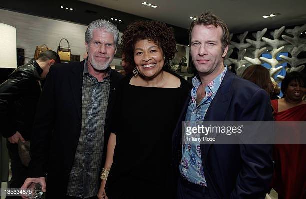Actor Ron Perlman Opal Stone and Thomas Jane attends the Opal Stone Luxury Handbags And Fine Jewelry Launch at Gray Gallery on December 8 2011 in...