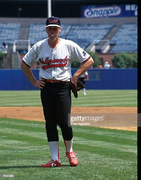 Actor Ron Perlman stands June 29 1996 in New York City Celebrities played baseball at Yankee Stadium with the proceeds benefitting charity