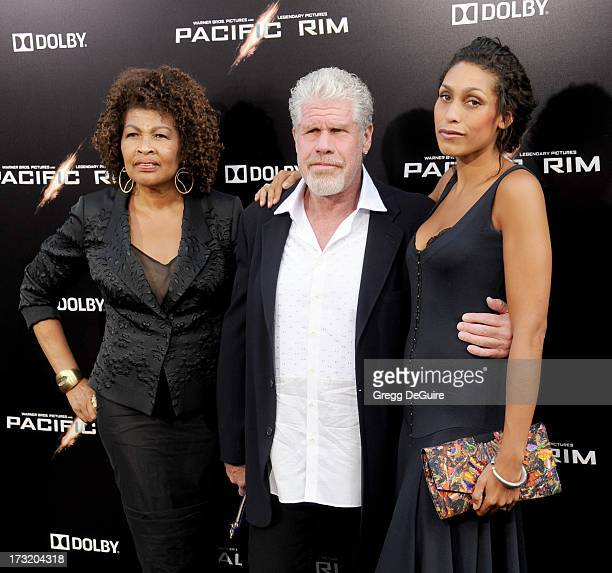 Actor Ron Perlman wife Opal Perlman and daughter Blake Perlman arrive at the Los Angeles premiere of Pacific Rim at Dolby Theatre on July 9 2013 in...